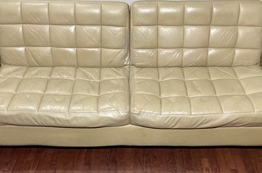 Light Beige/Cream Tufted Faux Leather Futon w/ Track Armrests for Sale in West Linn,  OR
