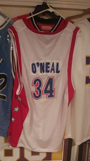SHAK. ORLANDO SIZE 48 CHAMPION NEXT IS ALL STAR WEST REEBOK SIZE 56. NEXT IS LAKERS REEBOK 2X for Sale in Westminster, MD