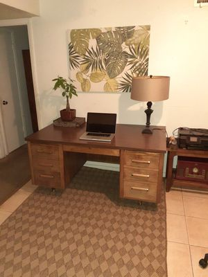 Heavy mid century executive desk modern clean walnut with formica table top for Sale in San Diego, CA