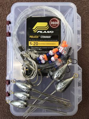 Surf Fishing Starter Pack (3/3oz, 2/5.5oz Surf Weights, 5/Surf Leaders & Plano 3650 box) for Sale in Sugar Land, TX