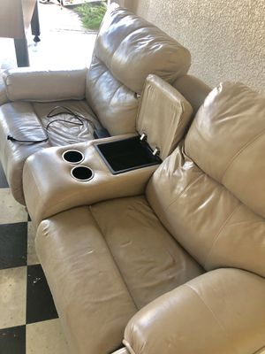 $2500 Natuzzi Leather power Sofa w Console - $300 for Sale in Clearwater, FL