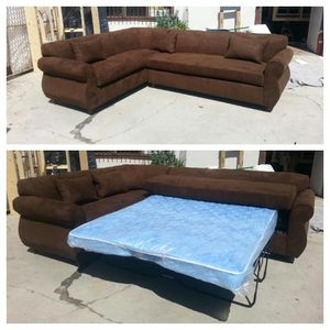 NEW 7X9FT CHOCOLATE MICROFIBER SECTIONAL WITH SLEEPER COUCHES for Sale in Victorville, CA