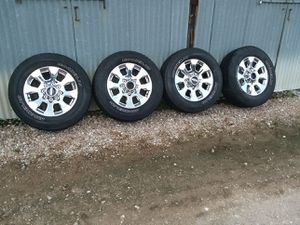 """20"""" ford f-250 f-350 chrome rims and tires 8 lugs 2019 oem for Sale in Pearland, TX"""