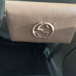 Gucci Soho Wallet on Chain Camelia Beige Leather Cross Body Bag for Sale in Silver Spring,  MD
