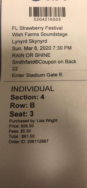 Lynyrd Skynyrd concert tickets x 2 for Sale in Jupiter, FL