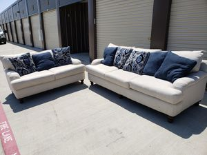 Can Deliver Modern Cream colored Couch Sofa and Loveseat. Great condition like new for Sale in Hurst, TX