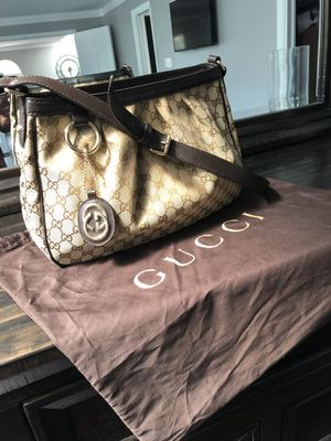 Authentic Gucci Sukey Gg Charm Logo Canvas Satchel for Sale in Tampa, FL