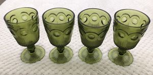 4 VINTAGE thumbprint pedestal water goblets for Sale in Fullerton, CA