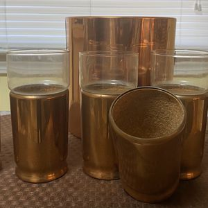 Vintage Everlast Copper 5 Pc Glass Set With Corked Lining for Sale in Orangeburg, SC
