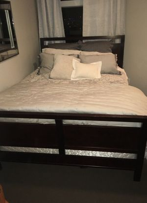 Queen bedroom set. Brown sleigh bed frame & nightstand for Sale in Seattle, WA