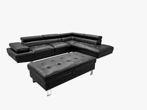 Black Contemporary Sectional W/Storage Ottoman For $1199 Cash Or Take It Home In Payments With $5 Down for Sale in Dallas, TX