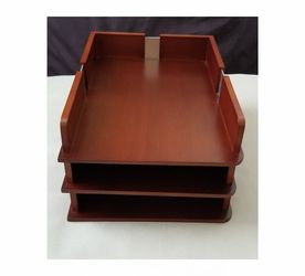 Wood Desk Office Organizer File 3 Letter Tray Sorter for Sale in Cape Coral,  FL