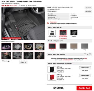 WeatherTech Floor Liners for 2019-20 GMC Sierra/Chevy Silverado 1500 for Sale in Westminster, CO