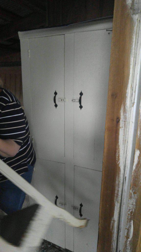 Antique White cabinet/ pantry/ shelf