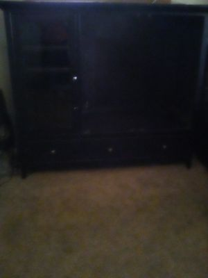 Black Solid oak wood Entertainment Center for Sale in Porterville, CA