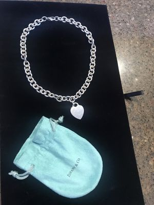 Tiffany & Co 925 Sterling silver chain link necklace heart tag for Sale in Santee, CA