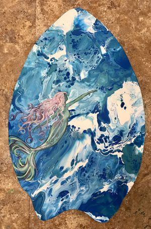 """Coastal Beach Hand Painted Wood Mermaid on Skim Board One of a kind signed 20"""" x 30"""" New for Sale in North Fort Myers, FL"""