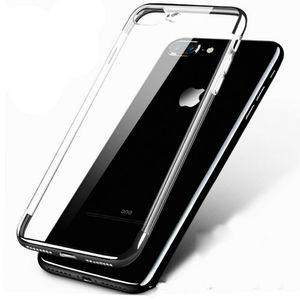 For iPhone 8 7 6s Plus Shockproof Plating Clear Slim Hybrid Bumper Case Cover Black(iphonebumper-8plus-black-USA ) for Sale in Riverside, CA