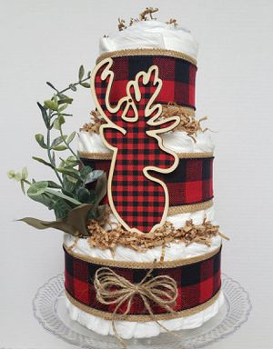 Buffalo plaid woodland animals diaper cake for Sale in Centreville, VA