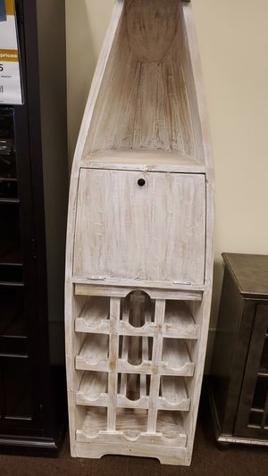 Antique boat wall cabinet wine rack with storage door for Sale in Victoria, TX