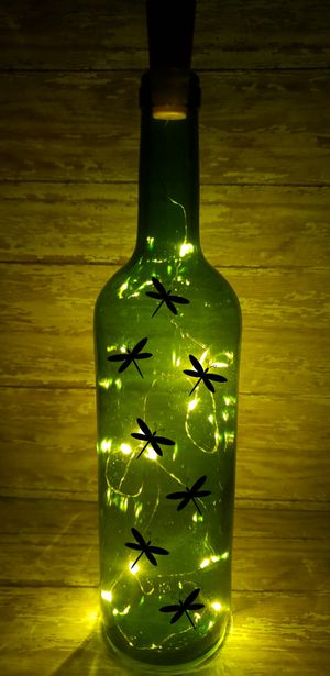 Dragonfly Wine Bottle Light, Garden Decor, Porch Decoration, Outdoor Decor, Yard Ornanment, Bar Accent Piece, Kitchen Decoration for Sale in Cuyahoga Falls, OH