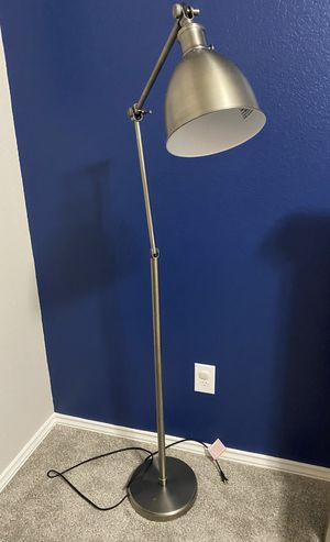 Threshold industrial task floor lamp in stainless for Sale in Cypress, TX