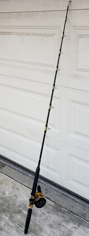 Okuma Makira 20 fishing reel & rod spooled with 120lb test line with costum 100lb rated rod. for Sale in Irvine, CA