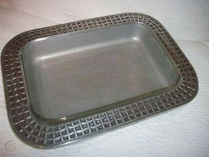 Wilton Armetale Basket Weave Rectangle Casserole Dish with 2.2 qt Pyrex Glass Dish for Sale in Portsmouth, VA
