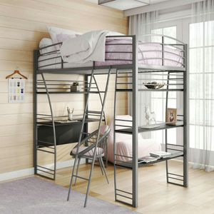 DHP Studio Twin Loft Bed with Integrated Desk and Shelves, Gray for Sale in Houston, TX