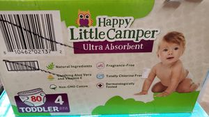 Happy little camper size 4 diapers 80 count for Sale in Riverside, CA