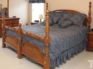 Solid wood 4 post bed frame for Sale in Holly Springs, NC