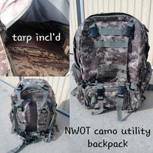 Army/camo Utility backpack, w/tarp-nwot for Sale in Bakersfield, CA