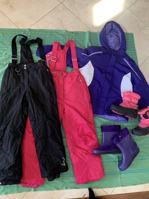 Snow bibs, jackets and boots for kids for Sale in Waddell, AZ