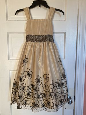 Girls Elegant Tan Dress with Flowers for Sale in Elgin, IL