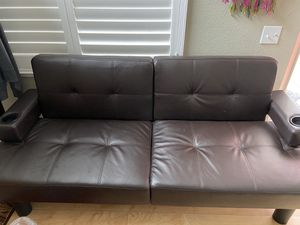 Mainstays faux leather futon with cup holder for Sale in San Jose, CA