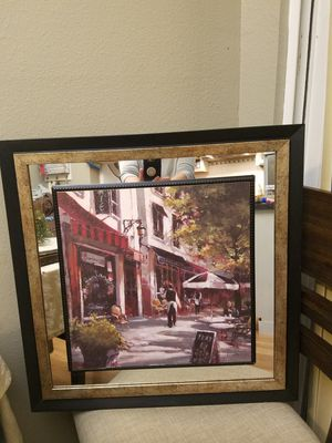 Beautiful set of 2 wall art frames with mirror around $20 each for Sale in Tualatin, OR