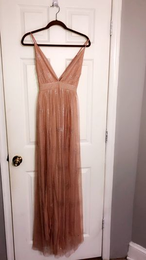 Blush nude silver shimmery prom dress Jr size Large never worn for Sale in Woodbridge Township, NJ