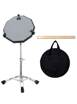 """ADM 12"""" Silent Snare Drum Practice Pad Percussion Set Double Sides Buddle with Stand Sticks Bag, Silver (Silver) for Sale in East Brunswick, NJ"""
