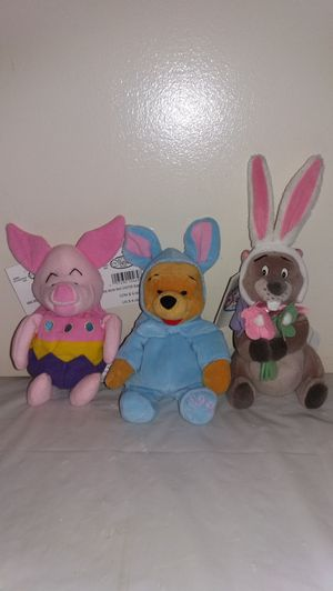 New with tags Disney 1999 Winnie the Pooh, Piglet + Gopher Easter Beanie babies for Sale in Downers Grove, IL