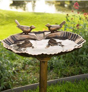 Brand New Outdoor Pedestal Bird Bath Decoration for Yard, Garden, Lawn w/ Sparrow Statues for Sale in HOFFMAN EST, IL