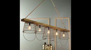 "5 light bucket style lighting fixture with wood beam 63.25"" x 12"" bucket depth for Sale in Philadelphia, PA"
