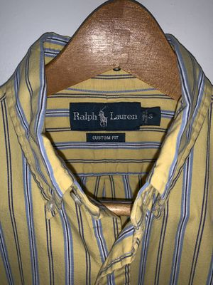 Men's Ralph Lauren Polo shirt. Size: L, Color: Yellow w/ Blue Pin Stripes, Design: Polo Rugby for Sale in Silver Spring, MD