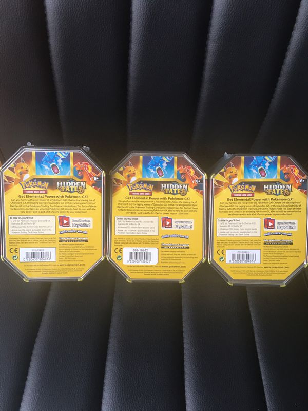 Pokemon Hidden Fates Tin Set Of 3