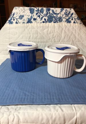 Corning Ware Stoneware French White pleated soup mug. Choice of 1. for Sale in Texas City, TX
