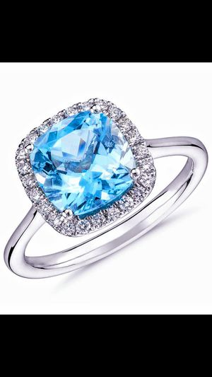 AQUAMARINE HALO SILVER RING for Sale in Lawton, OK