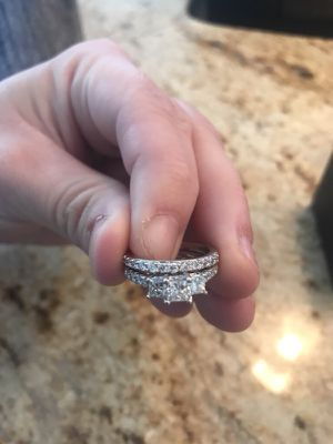 White gold wedding ring and engagement ring set for Sale in Washington, DC