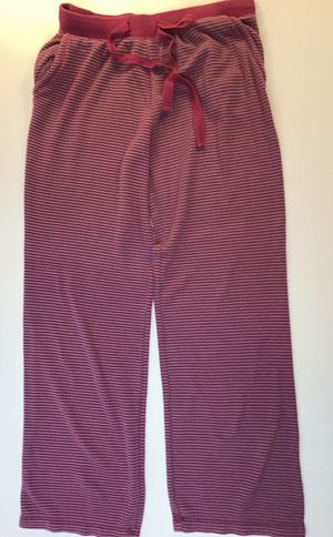Women's striped pajama bottoms grey & raspberry color with pockets size M for Sale in Everett, WA