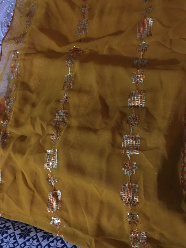 New Golden beautiful Scarf, party, wedding and evening wear.