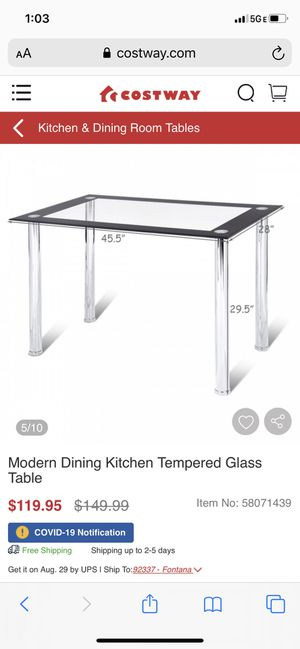 Modern Dining Kitchen Tempered Glass Table with 4 dining chairs for Sale in Bakersfield, CA