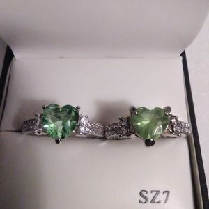Size 8 Peridot Heart Ring, Mine Is On The Left For Sale The Right Is _ish Not For Sale I Don't Sell. for Sale in Lombard, IL